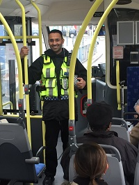 Sgt Gill on NX bus in Birmingham